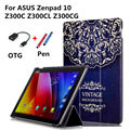 New Colored drawing zenpad 10 Z300C Leather Case Cover capa para for ASUS Zenpad 10 Z300C Z300CL Z300CG Tablet PC Case+OTG+Pen