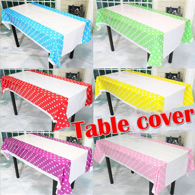 108*180CM Rectangular Table Cover White Dots Wedding Decorations Kids Party  Supplies Decor Favorable Table
