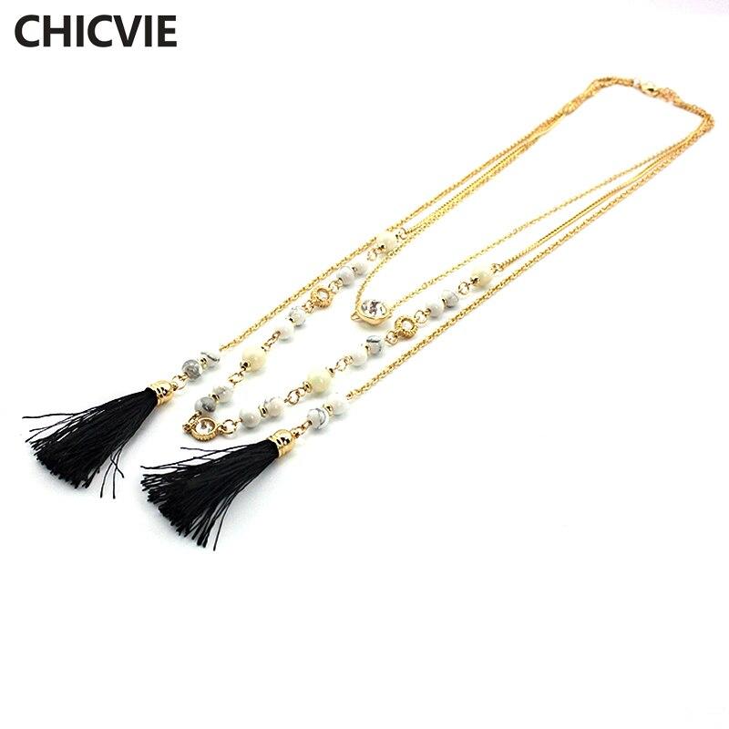 Купить chicvie ожерелья и подвески из натурального камня многослойное