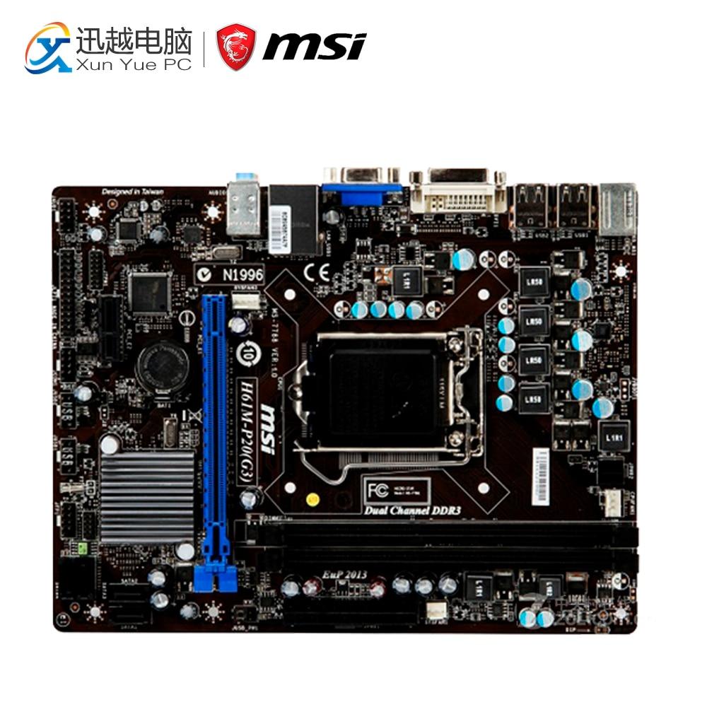 MSI H61M-P20 Desktop Motherboard H61 Socket LGA 1155 i3 i5 i7 DDR3 16G SATA USB2.0 Micro-ATX motherboard core i7 i5 i3 h110 sata mainboard pci express micro atx retail motherboard chipset sata 6gb s connectors lga1151