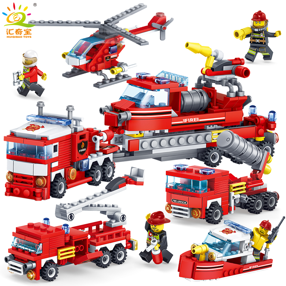 348PCS 4IN1 Firefighting Trucks Cars Helicopter Model Figures Building Blocks Compatible Legoed City Station Toys For Children