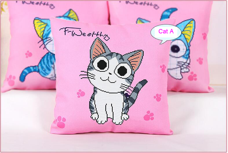 Chi Sweet Home Cute Cat Cross Stitch Pink Cushion Cover Cartoon Throw Pillow Cover Needlework Embroidery Home Decoration Cushion