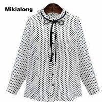 Mikialong 2017 4xl 5xl 플러스 사이즈 여성 셔츠 우아한 스탠드 칼라 튜닉 탑