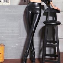 2018 Spring Women Faux Leather High Waist Leggings Pencil PU Leather Black Pants Leopard Thin Pant New Plus Size
