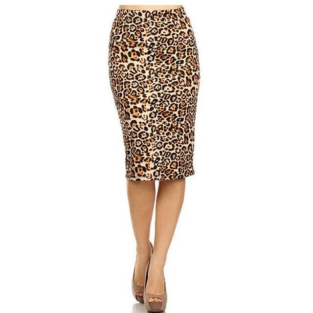 2017 Горячие Дамы Новая Мода женская Leopard Юбка-Карандаш Высокая Талия Цветочные Сетка Печати Среднего Юбки Мути Цвета