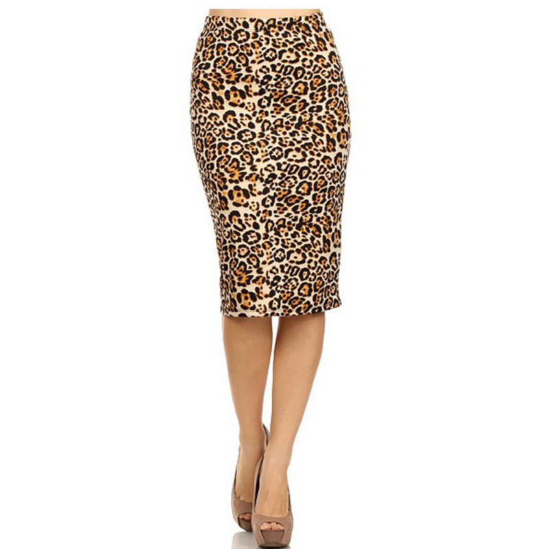 Hot Ladies New Fashion Women's Leopard Pencil Skirt High Waist Floral Grid Printing Middle Skirts Muti Colors