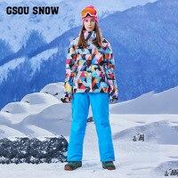 Gsou Tuyết trượt Tuyết phù hợp với, của phụ nữ phù hợp với, windproof, không thấm nước ấm quần, của phụ nữ dây đai, quần áo trượt tuyết, sản phẩm mới
