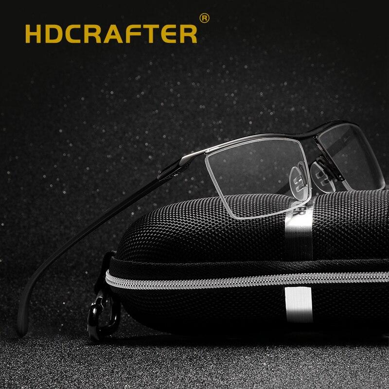 HDCRAFTER titanium gafas marco hombres anteojos ópticos gafas ...