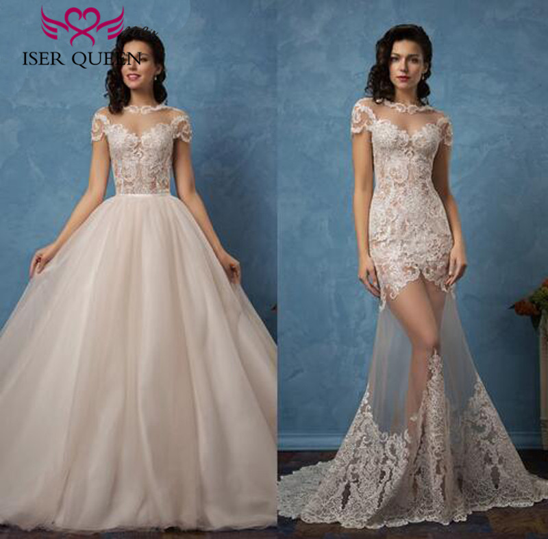 Two in one Tulle Wedding Dresses New 2019 Illusion Sexy Mermaid Wedding Dress With Detachable Skirt Plus Size Bridal Gown W0077