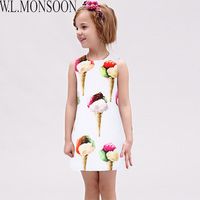 W L MONSOON Girls Summer Dresses 2018 Brand Vestido Princesa Ice Cream Kids Dresses For Girls