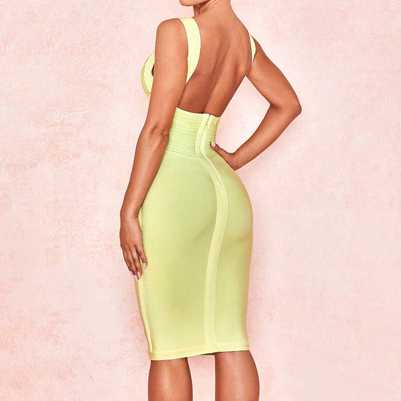 Предпродажа светло-желтого цвета ремень V шеи длиной до колена 2019 новое облегающее для вечеринки со знаменитостями сексуальное летнее женское Бандажное платье с открытой спиной
