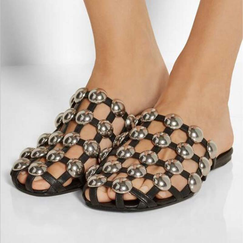 9ef57215c217cf 2018 Runway Fashion Leather Sandalias Mules Luxury Slip On Beading Caged  Women Amelia Studded Flat Slide Sandals Shoes Women-in Women s Sandals from  Shoes ...