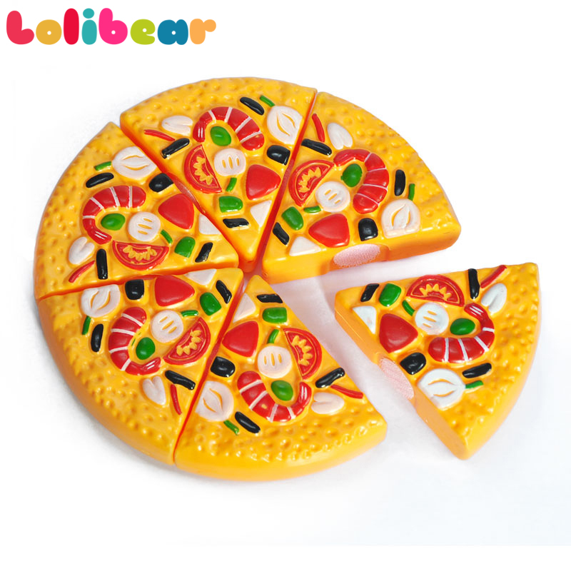 6pcs/pack Mini Food Fake Pizza Toys Kids Pretend Play Slicing Plastic Birthday Cake Set Goods For Girls Boys Kitchen Party Toys