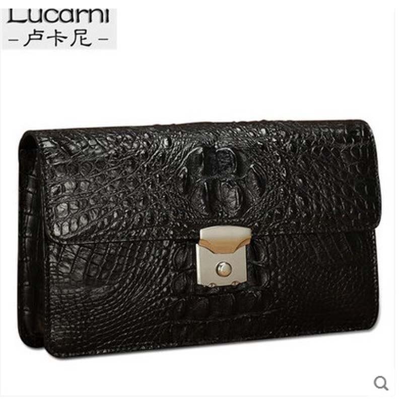lukani crocodile Men's clutch bag combination lock Manual capacity Grab men bag men's purse twist lock grab bag