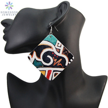 SOMESOOR 5cm Flat Ancient African Wooden Drop Earrings Afrocentric Ethnic Tribal Bohemian Printed Wood Jewelry For Black Women