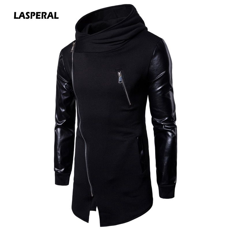 LASPERAL New Harajuku Mens Casual Hoodie Jackets Pu Leather Patchwork Motorcycle Long Outwear Coat Zipper Irregular Rock Coats