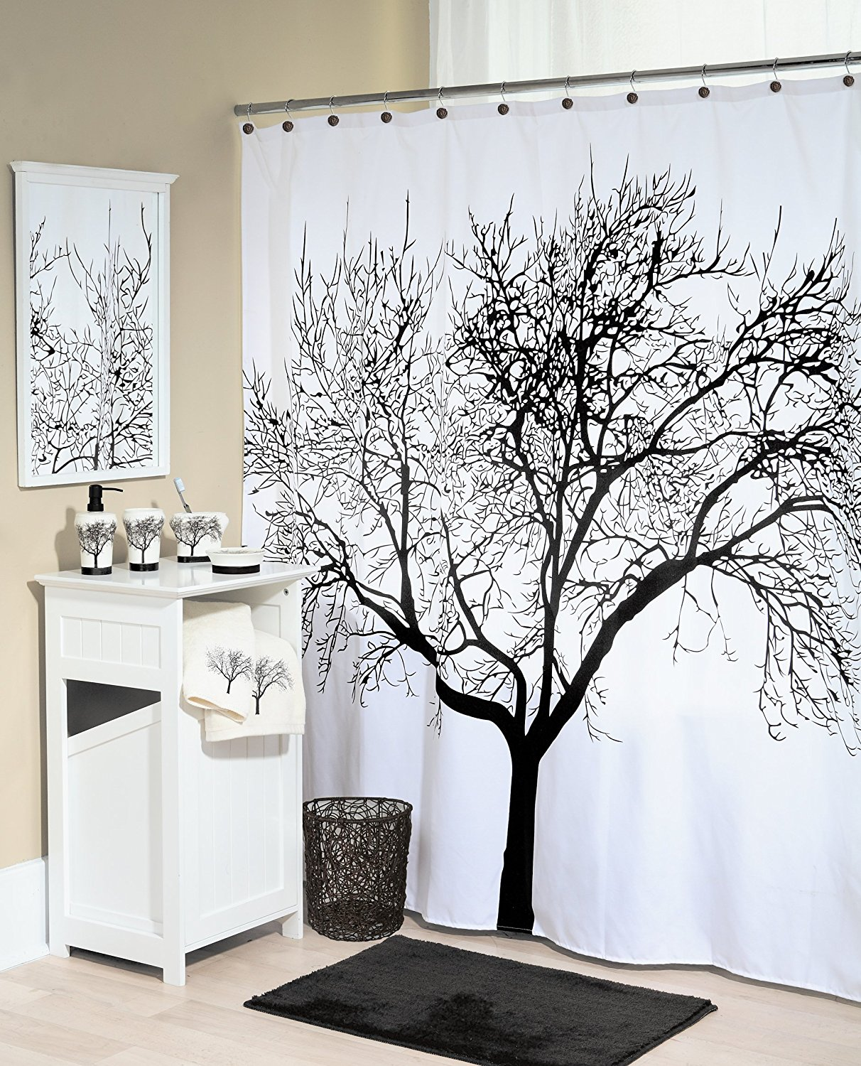 Splash Home Shower Curtain 70 By 72 Inch Tree Black In Curtains From Garden On Aliexpress