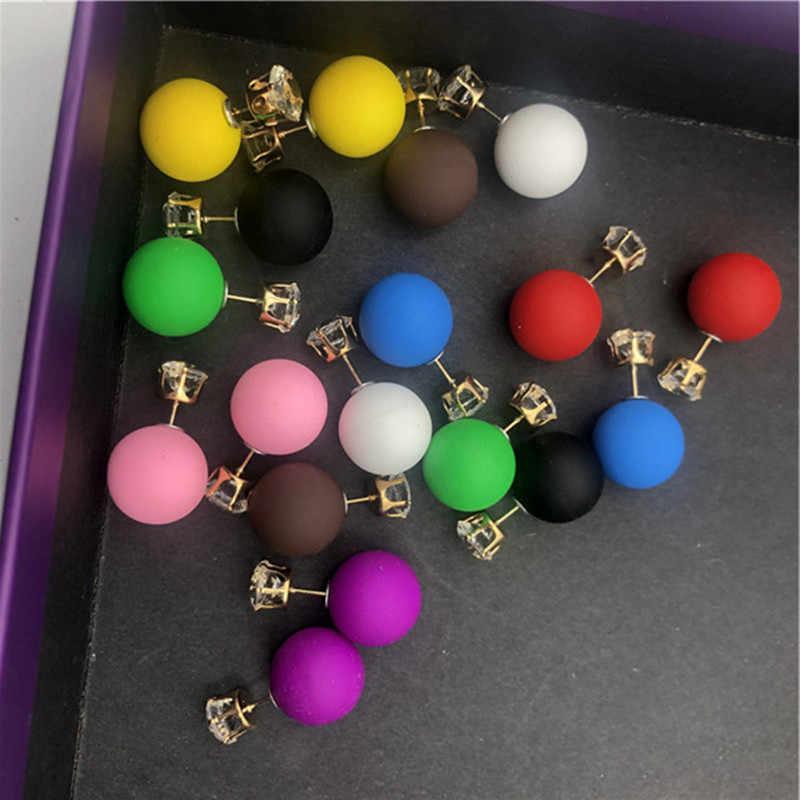 Novo luxo acrílico cor brilhando brincos de cristal pérola grande parafuso prisioneiro brincos bola de borracha brincos para mulher