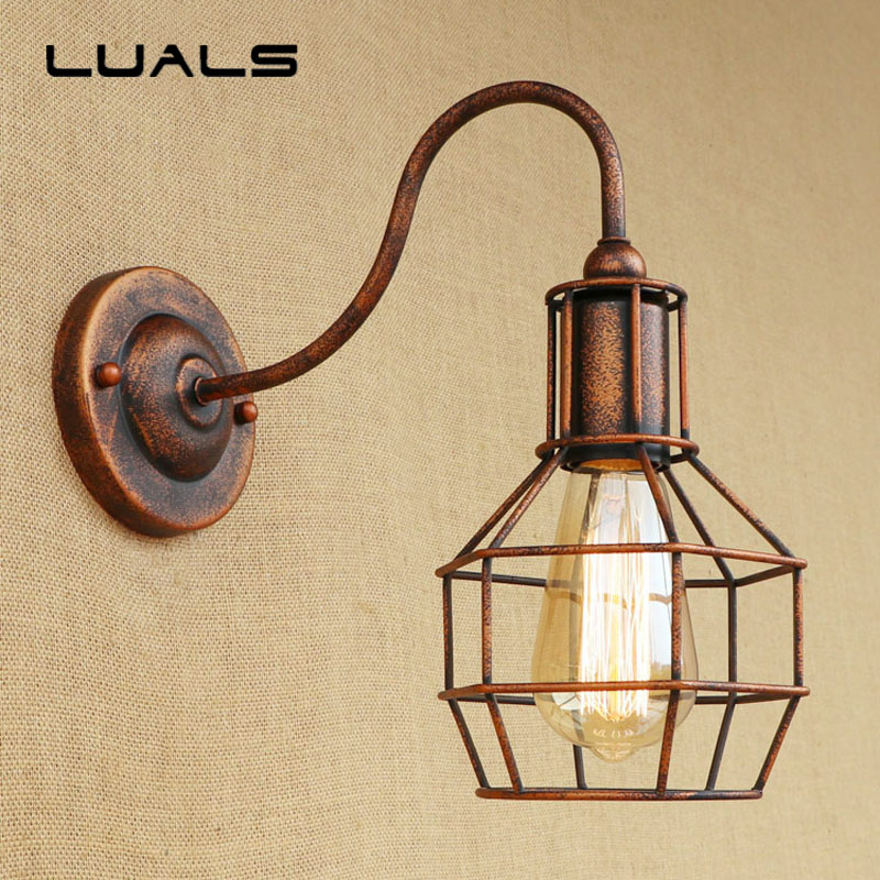 Loft Industrial Style Wall Lamp Creative Rusty Color Vintage Wall Light Coffee Bar Art Deco Lighting Contains Edison LED Bulbs american style retro desk light wooden base led lamp cafe bar table lamps bedroom industrial water pipes art deco lighting