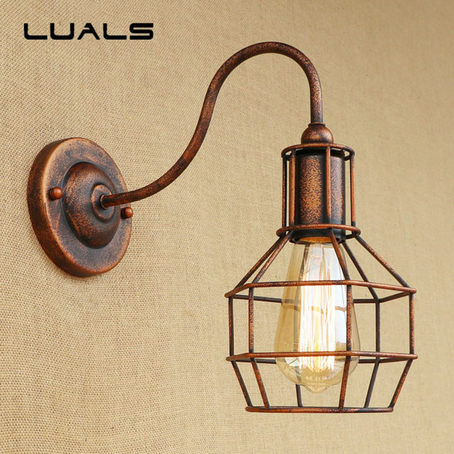 Loft Industrial Style Wall Lamp Creative Rusty Color Vintage Wall ...