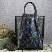 Genuine Leather Fashion Women Handbags Bucket Tote Crossbody Bags Embossing Flowers Cowhide Lady Messenger Shoulder Bags