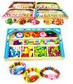 150 pçs/set de madeira brinquedos educativos de contas colar do bebê crianças brinquedos formação diy manual capacidade usar contas caixa de jóias