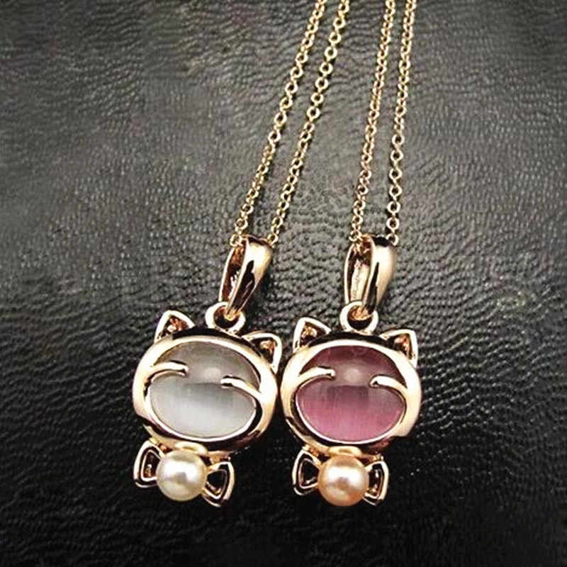 Fashion Super Cute Lucky Cat Opal Sweater Chain Women Necklace Jewelry 4ND19