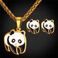 U7 panda linda sistemas de la joyería para las mujeres del encanto del oro amarillo plateado de acero inoxidable animal conjuntos collar aretes al por mayor s207