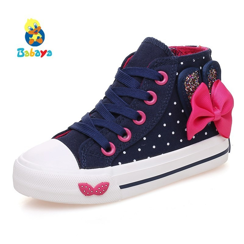 Children canvas shoes Girls shoes Bowknot Polka Dot 2017 Spring Autumn Kids shoes girls high lace-up Girls casual shoes casual bowknot lace up jazz hat