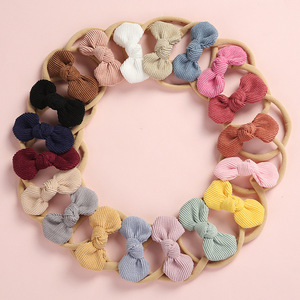 Image 1 - 20 pcs/lot, Soft Corduroy Knot Bow Nylon Headbands or hair clips, baby shower gift
