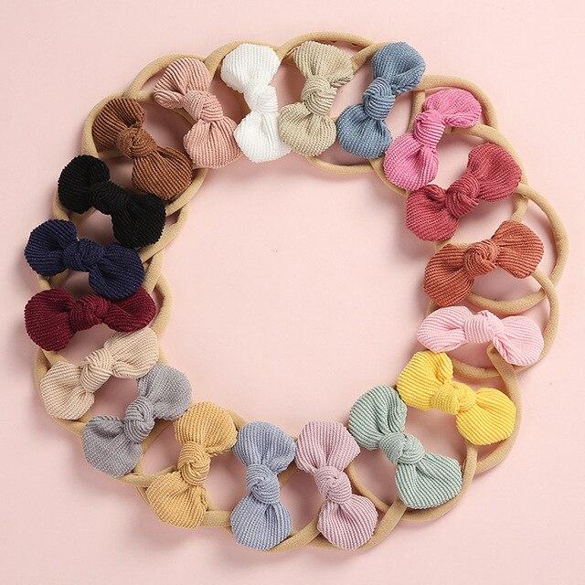 20 pcs/lot, Soft Corduroy Knot Bow Nylon Headbands or hair clips, baby shower gift