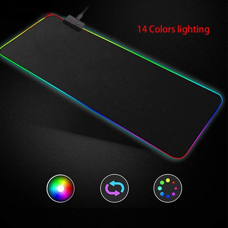 XL Super Large RGB Gaming Mouse Pad 14 Colors LED Lighting 1.8M USB Cable Keyboard Mouse Mice Mat Locked Edge 900*400 Anti Slip