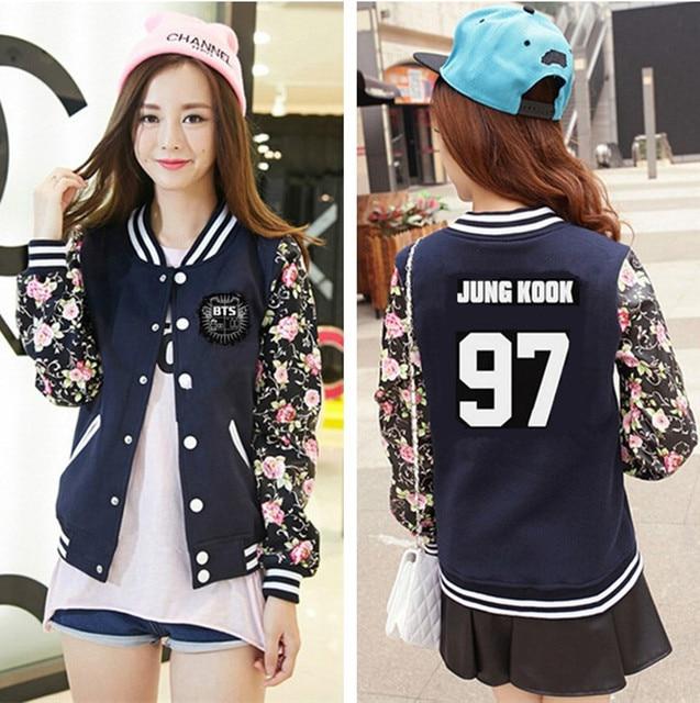 2017 NEW BTS kpop women Baseball Jacket long sleeved Hoodies k pop ...