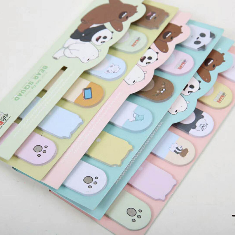 1 sets/1 lot Creative Bear Memo Pad Sticky Notes Escolar Papelaria School Supply Bookmark Post it Label ...