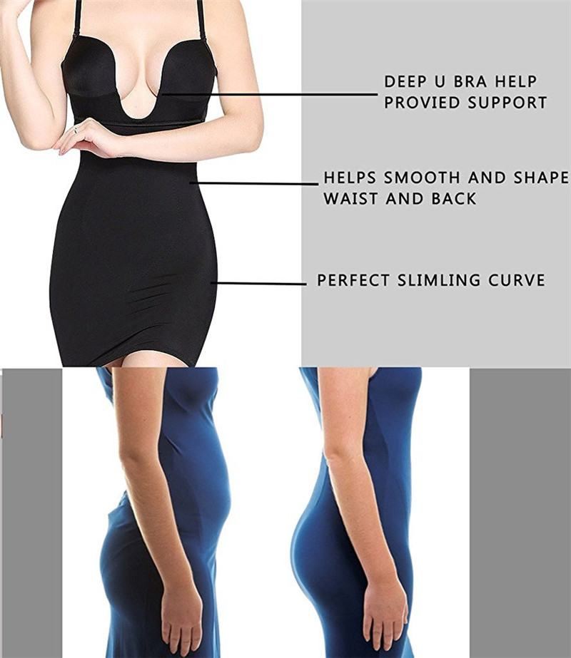 42740d4fbaad7 NINGMI Slimming Body Shaper Women Bodysuit Full Slip Skirt Shapewear  Seamless Waist Trainer Wireless Bra Briefer Dress Corsets-in Bodysuits from  Underwear ...