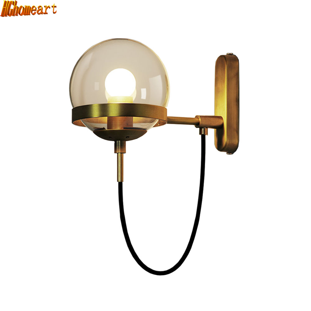 HGhomeart Hotel Lobby Retro Wall Lamp Modern Retro American Restaurant Cognac Glass Ball Bronze Wall Lamp