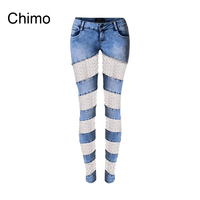 2018 Fashion Women Jeans With Lace Sexy Hollow Out Pencil Pant Ladies Casual Elasticity Skinny Plus Size Denim Jeans For Female