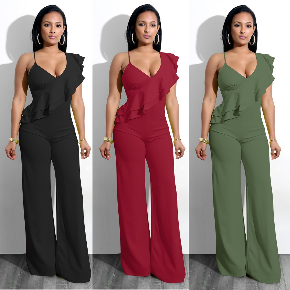 Sexy Deep V-Neck Ruffles Strap   Jumpsuits   Fashion Women Clothes Casual Black White Femme   Jumpsuits   Rompers 2019 Autumn   Jumpsuits