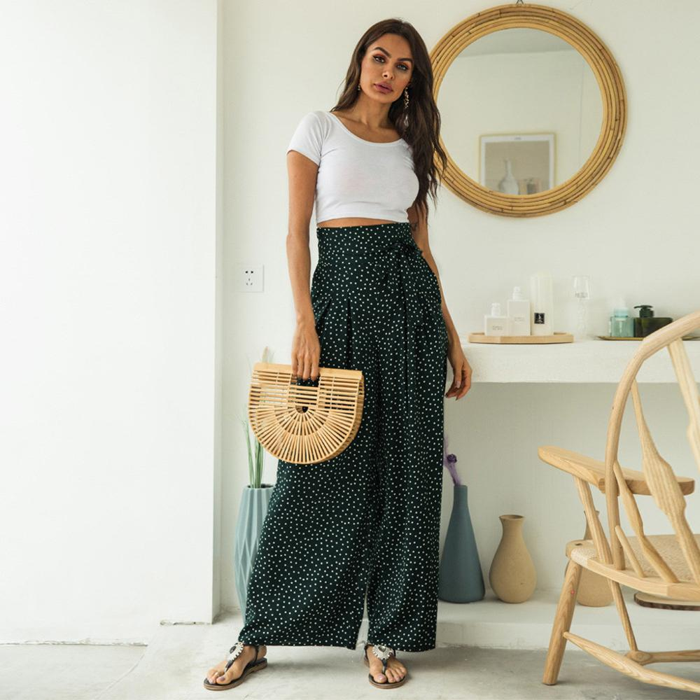 Fashion Women Casual High Waist Wave Point Thin Section   Wide     Leg     Pants   Trousers Beach
