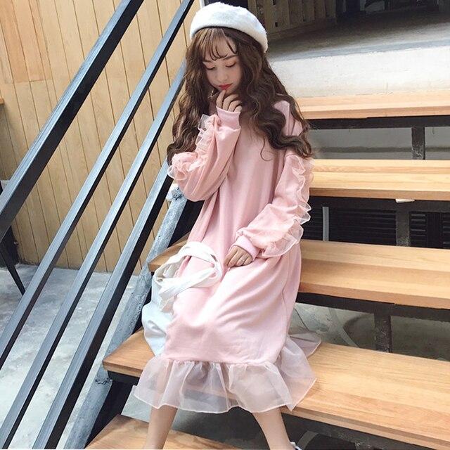 17d0981618 Japanese Women White Ruffles Dress Women Lolita Long Sleeve Cute Pink Dress  Female Korean Causal Lantern