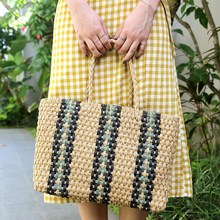 Stylish luxury handbags women bags designer Handmade Striped Pattern Handbag Novel Design Square Straw Woven Women