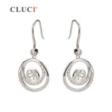 CLUCI 925 sterling silver Bijoux shining Double Round Women party Drop Earrings Fittings, fine jewelry diy for elegant women