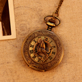 Bronze Roman Number Crane Pattern 4.74cm Diameter Case Vintage Antique Pocket Watches 78cm Chain Necklace Watch Quartz Movement