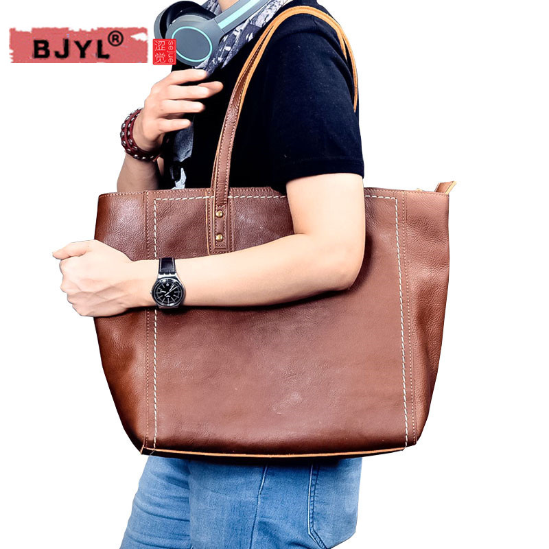 BJYL Unisex genuine leather cross section Tote bag retro leather women and Men handbag shoulder bag computer laptop bagsBJYL Unisex genuine leather cross section Tote bag retro leather women and Men handbag shoulder bag computer laptop bags
