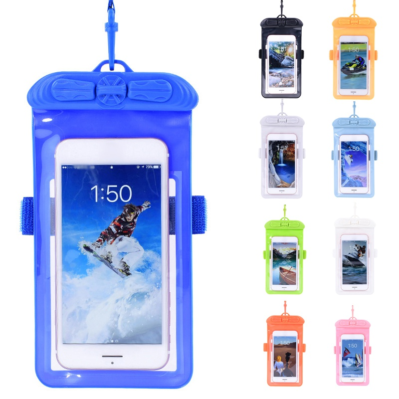 New Waterproof Mobile Phone Hang Swimming Bag Touch Screen Cellphones Pouch For Surfing Diving Sea Beach S M