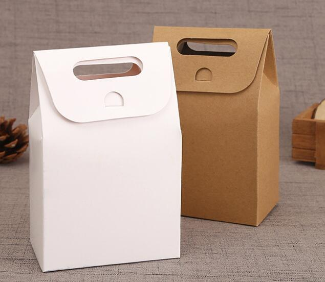 Wholesale Hot Natural Kraft Paper Bags Party Gift Packing Box Sweets