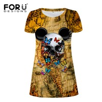 FORUDESIGNS Street Women Dress 3D Skull Printed 2017 Summer Lady Dresses O Neck Vintage Knitted Butterfly