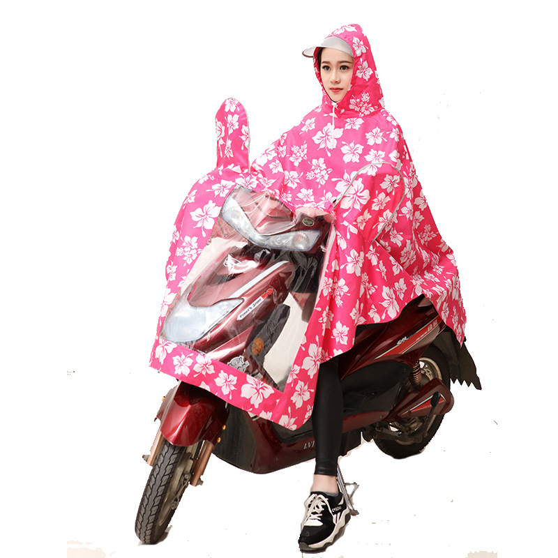 ZZIXQIN 2018 New Fashion Long Windbreaker Raincoat Ladies print Electric Poncho Riding Outdoor Hiking Into Thickened