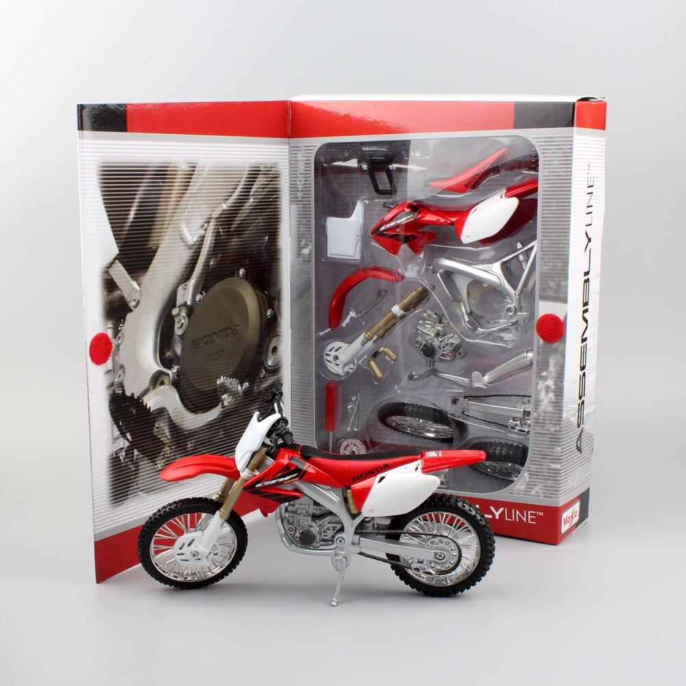 1: 12 échelle de kid mini Honda CRF 450R 450 DIY ligne D'assemblage auto moto modèle en métal moulé sous pression motocross réplique jouets pour garçons