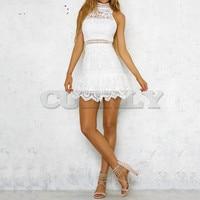 Free Ostrich 2019 Women Summer Backless Mini Dress Evening Party Beach Dress Sundress White Lace Romantic Wedding Mini Dress